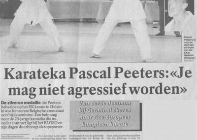 1998 - Artikel Oktober - Karateka Pascal Peeters - Je mag niet aggresief worden