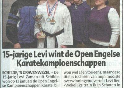 2002 - 15 jarige Levi wint de Open engelse Karatekampioenschappen